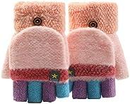 NBRR - Guanti invernali a maglia senza dita con rivestimento per guanti per bambini, bambine e ragazzi dai 2 a