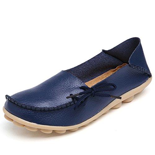 Damen Casual Mokassin Leder Loafers Fahren Schuhe Comfort Freizeit Flache Schuhe Slipper Flats chuhe Low-top Lederschuhe Erbsenschuhe-04DB38.5 (Wide Spitze Top)