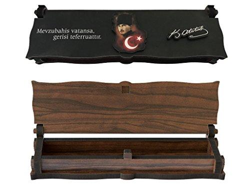 Gök-Türk Box Schatulle Aufbewahrung für Tesbih Gebetsketten Schmuck 'Mustafa Kemal Atatürk' aus Holz Handgemacht, ColorName: (ohne Gravur)