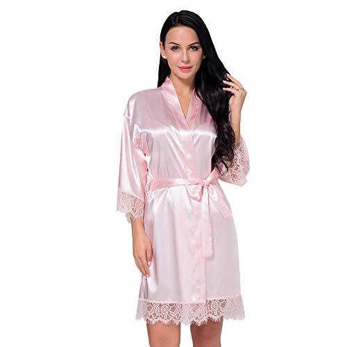 Nachtwäsche Damen Morgenmantel Kimono Robe Satin Kurze Bademantel Mit Spitze Für Frauen Pink S