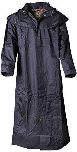 Scippis Stockman Coat Regenmantel für Cowboys Biker (Schwarz, L)