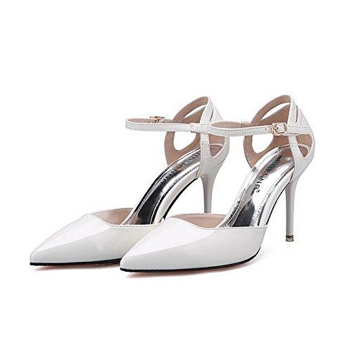 AalarDom Femme à Talon Haut Pointu Boucle Matière Mélangee Chaussures Légeres Blanc-Évidement