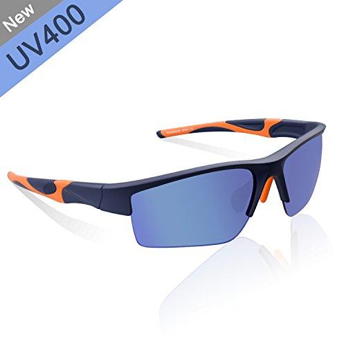 Zhara Sonnenbrille Radfahren Sportbrille polarisierte UV 400 Fahrradbrille Sonnenbrille Ski-Sonnenbrillen TR90, Blau