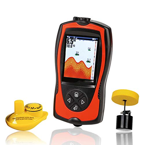 QLPP Handgehaltene Portable Fish Finders für Boote, die Kayak Fishfinder Depth Finder Ice Fishing Gear mit drahtlosem Sonar Transducer und LCD-Display Ice Transducer