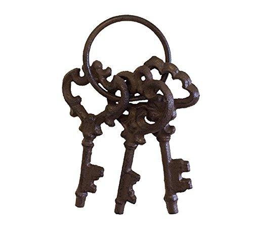 zeitzone Nostalgie Schlüsselbund 3 Schlüssel zur Deko Gusseisen AntikStil Braun