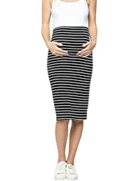 6b5ee7803e36d Brown & Black Maternity Dress for Women Maternity Comfort High Waisted  Tummy Control Stripe Pencil Skirt Maternity…