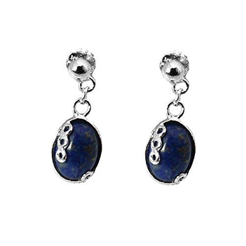925 Sterling Silver Lapis Lazuli Tear Drop Fishhook Earrings - Oriental Perfection BR2VAbNY5L