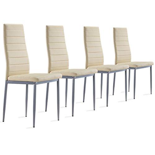 4 Stück beige Stühle Esszimmerstühle, Küchenstühle mit hochwertigem Kunstlederpolster