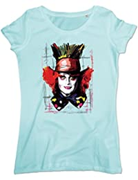 Pushertees-Store - T-Shirt Mujer Caribbean Blue - Mad Hatter The Adventures of