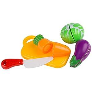 Ultrakidz Johntoy Juego para cortar verduras, tabla de cortar con verduras, alimentos de juguete para la cocina de juguete, juguete de cocina para cortar verdura, juego de 8 piezas