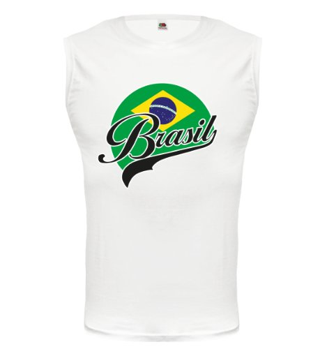 buXsbaum® Tank Top Brasilien-Logo White-z-direct
