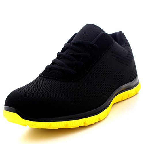 Get Fit Mens Mesh Running Trainers Athletic Walking Gym Shoes Sport Run - Black/Yellow - UK13/EU47 - BS0113