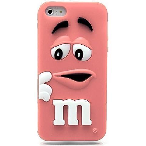 Cover in Silicone Morbido M&M 3D per SmartPhone - Rosa