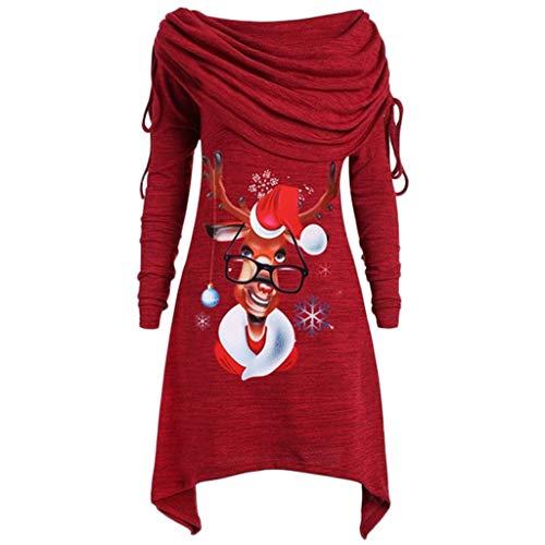 MRULIC Weihnachtskleid Damen Pullover Herbst Lose Asymmetrisch Curved Rock Oberteile Blusen Rundhals Casual Loose Kleid Lange Tops Foldover Kragen Tunika Bluse