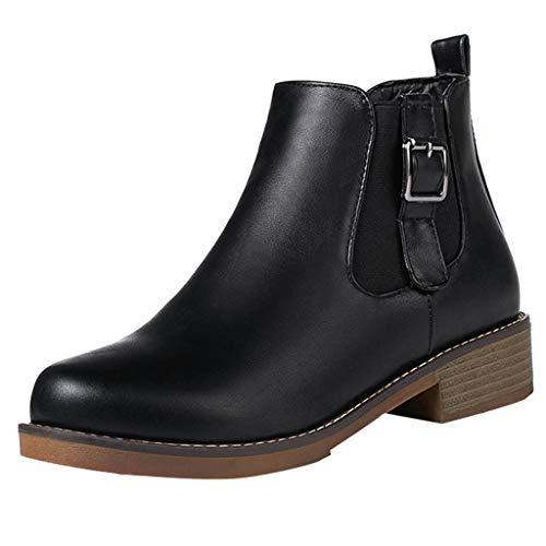 NINGSANJIN Damen Stiefeletten Chelsea Boots mit Blockabsatz Profilsohle Plateau Vorne (Schwarz,38)