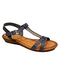Oh my Sandals - Sandalia de Piel con cuña - Marino plomo - 3615