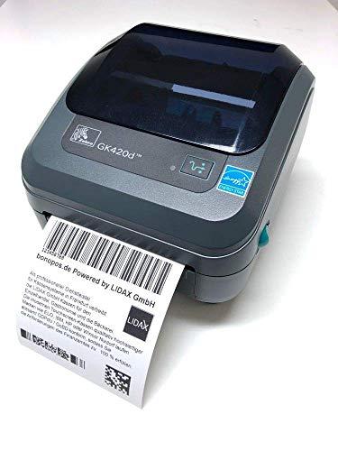 Zebra GK420d Thermodrucker, 203 DPI, 8 Punkte, Druckbreite 104 mm, Serial, USB, ZPL, ZPL II + 10/100 Ethernet + Netzteil mit UK/Europa Kabeln, USB-Kabel und Reinigungsstift