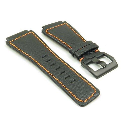 strapsco schwarz W/Orange Nähten Saffiano-Leder Band Uhrenarmband für Bell & Ross W/matt schwarz Schnalle 24mm