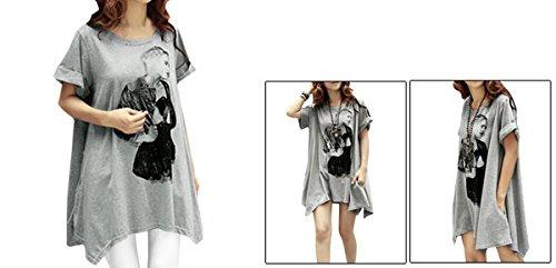 Allegra K Allegra K Damen Porträt Drapiert Kurzärmelig T-shirt Locker Tunika Pullover Grau Meliert