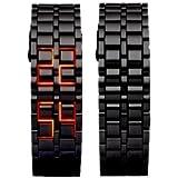 *** Montre Design Samouraï LED NOIR / BLEU *** Montre en acier ajustable / Affichage LED date et heure / Longueur 22,5 cm / Largeur 2,5 cm / Pile CR2016 incluse. Noir / Bleu - NEUF