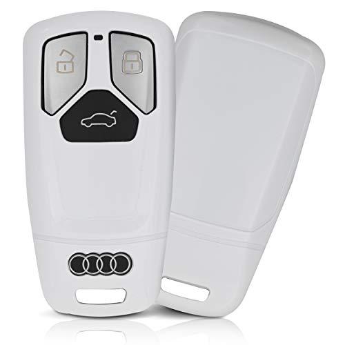 ASARAH ABS Schlüsselhülle für Audi mit Edler Lackierung, Schutzhülle für Autoschlüssel Cover für Schlüssel-Typ AI 3BKL-b - Weiß