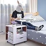 DIY cabinet Laptop Schreibtisch Schlafzimmer Nachttisch mit 2 Schubladen, Multifunktionale Mobile Lagerung Nachttisch Schrank (Farbe : Weiß)