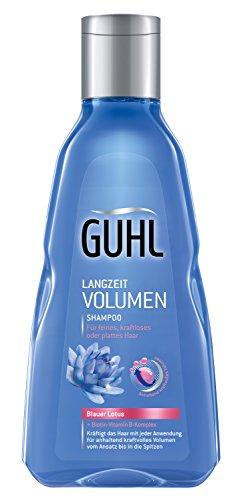 Guhl Langzeit Volumen Shampoo - 2er Pack (2 x 250 ml) - mit blauem Lotus - verleiht kraftvolles Volumen - für feines, kraftloses Haar