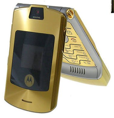 Motorola Moto RAZR V3 razr stylish flip phone imported - Gold