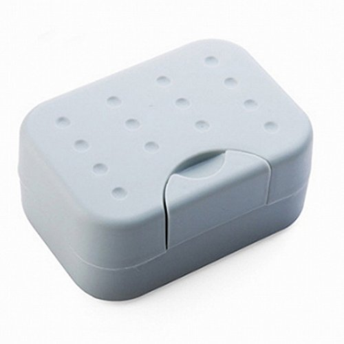 TOOGOO(R) Travel Soap Box Case Holder Container Home Outdoor Hiking Camping PP Durable Soap Dish with Spirogyra – Grey