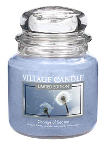 Village Candle Kerze Veränderung der Saison, mittelgroßes Glas, Glas, blau, 10,8x 9,8x 10,1cm (Am Lavendel-kerze Besten)