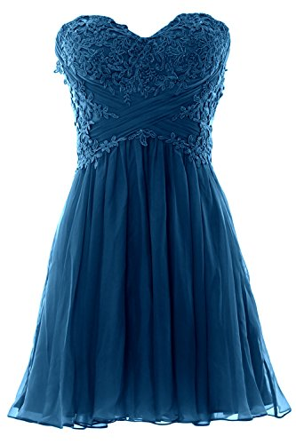 MACloth Women Strapless Cocktail Dress Lace Chiffon Mini Prom Party Formal Gown Teal