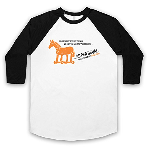 Inspiriert durch Eddie Izzard Trojan War Unofficial 3/4 Hulse Retro Baseball T-Shirt Weis & Schwarz