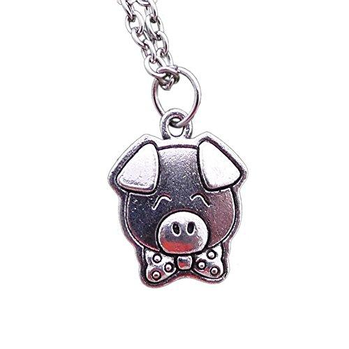 Fengteng Silber Farbe Schwein Anhänger mit Schleife Schweinchen Kopf Halsschmuck Piggy Halskette für Damen Herren Glücksschwein Schmuck Tier Geschenk Liebe - Schwein-anhänger-halskette