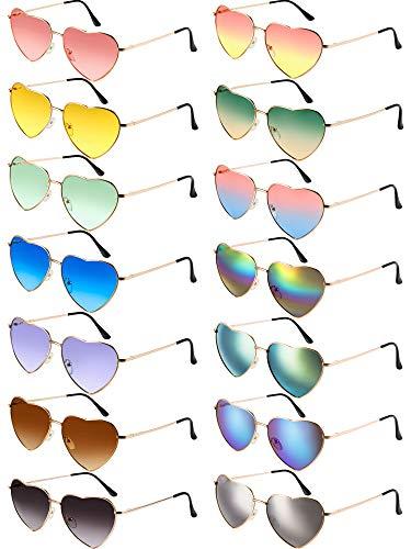 Chinco 14 Stück Herz Sonnenbrillen Metallrahmen Aviator Schöne Herz Farbige Sonnenbrille (Gold Rahmen)