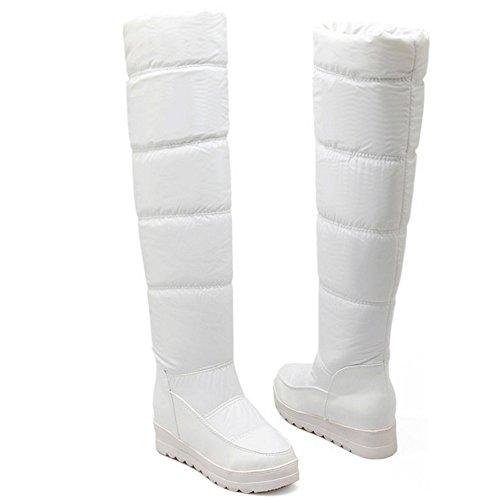 COOLCEPT Damen Winter Keilabsatz Flache Stiefel Warm Gefütterte Langschaft Stiefel Snow Boots Weiß