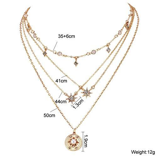 MYYQ 925 Sterling Silber Damen Kette mit Anhänger mit, Mode achteckigen Stern Reis mehrschichtige Meteor Halskette Joker eingelegten Diamant schlüsselbein Kette anhänger weiblich