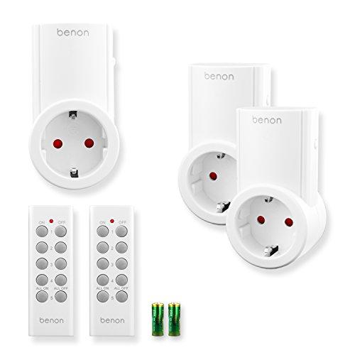 benon B2111 Funksteckdosen-Set mit Fernbedienungen, 3er Set, 2300W für Licht & Haushaltsgeräte, bis 30m Reichweite