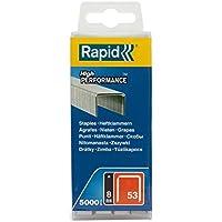 Rapid, 40303084, Agrafes en fil fin N°53, Longueur 8mm, 5000 pièces, Pour le textile et la décoration, Fil galvanisé, Haute performance