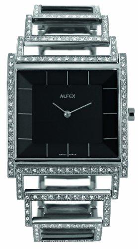 Alfex - 5688_815 - Montre Femme - Quartz Analogique - Cadran Noir - Bracelet Acier Gris