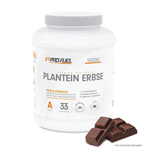 Erbsenprotein Isolat mit essentiellen Aminosäuren | Proteinpulver Vegan | Glutenfrei, Laktosefrei - Der ideale vegane Protein-Shake | PROFUEL® Plantein Erbse – 1kg / CHOCOLATE
