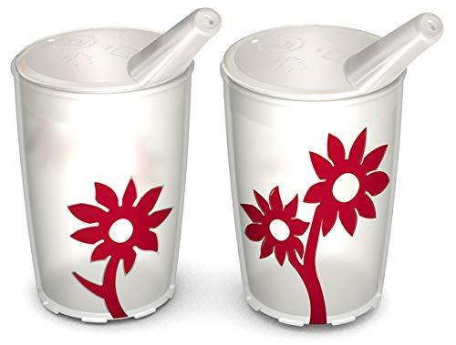 Ornamin Becher mit Anti-Rutsch Blume 220 ml natur/rot und Schnabelaufsatz 2er-Set (Modell 820 + 806) / Schnabelbecher, Trinkbecher, Kinderbecher -