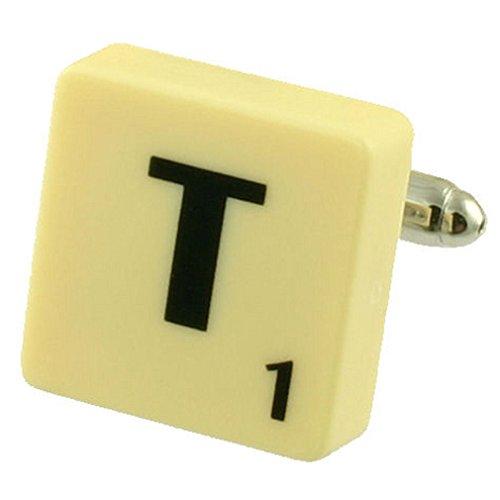Letra T Scrabble gemelos compre 2 Cuff Links Seleccione
