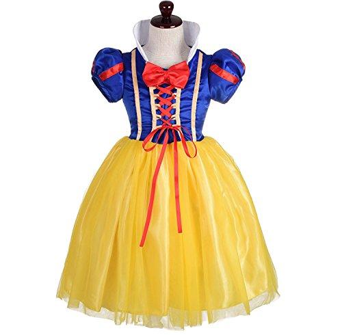 Alead ragazza biancaneve costume un ballo in maschera vestito halloween festa (5-6)