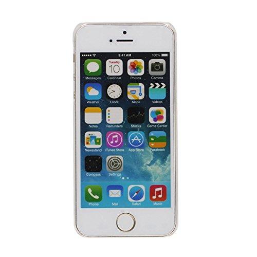 Dur Transparent iPhone 5S étui de Protection, Coque iPhone 5 5S SE Antichoc, Liquid type Écoulement Poudre d'Or Ananas Apparence Conception Bleu
