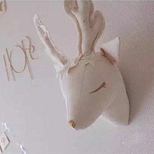 Blanc Tête de Cerf Deer Décoration Chambre Bébé Murale d'enfant Fille Garçon Suspendu Deco Trophée Tête d Animaux Mural Cadeaux Anniversaire Déco Noël