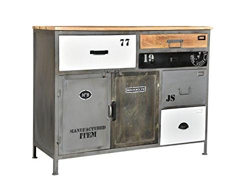 Woodkings® Sideboard Pinetown Metall recyceltes Massivholz antik, Anrichte Vintage, Design Kommode 5 Schubladen, Industrial Möbel Metall Holz Mix