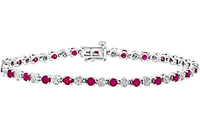 Naava Women's Round Brilliant 3.50 ct Ruby and 0.63 ct Diamonds 9 ct White Gold Tennis Bracelet of 18.1 cm