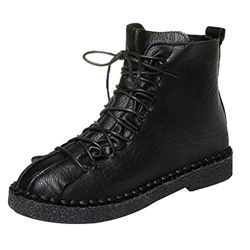 MOTOCO Booties Autumn and Winter Female British Wind Flat Bottom with Lace Martin Boots Vintage Platform Thick-Soled