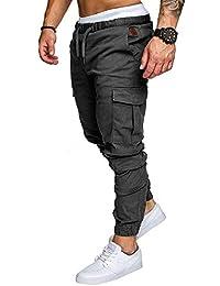 Pantalon Cargo Slim Homme Casual Été Pantalons Jogging Multi Poche Cordon  de Serrage Baggy ... 6bfacf918c0