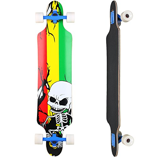 Vokul Professional Complete Longboard Skateboard Cruiser (Skull)